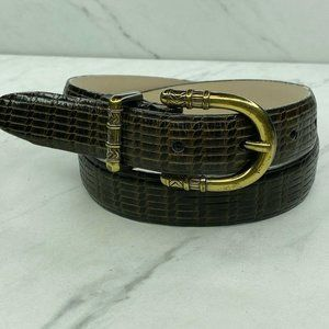 Talbots Embossed Brown Leather Belt Size Small 26